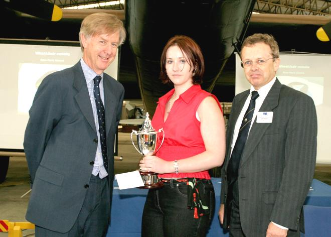 Rose-Marie Almond, Overall Winner, Engineering Inspirations 2005, accepting her prize from Sir Peter Williams and Ian Reed